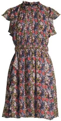 Shoshanna Amora Floral Ruffled Silk Dress