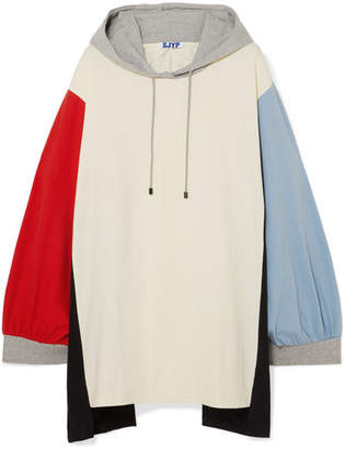 Sjyp Oversized Hooded Color-block Cotton-jersey Mini Dress - Ivory