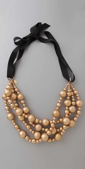 Amanda Pearl Gold Wood Bead Necklace