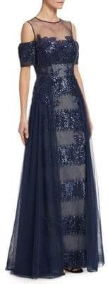 Teri Jon by Rickie Freeman Sequin Lace Cold Shoulder Gown