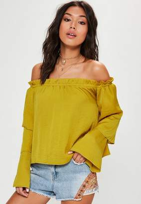 Missguided Yellow Tiered Sleeve Bardot Blouse
