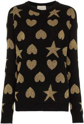 Gucci Hearts and stars wool-blend sweater