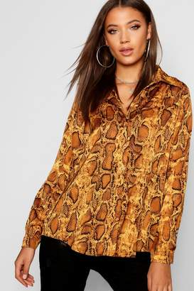 boohoo Tall Snake Print Shirt