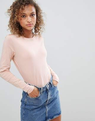 Asos DESIGN ultimate top with long sleeve and crew neck in pink