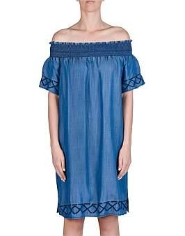 Jump Shirred Off The Shoulder Tencel Dress