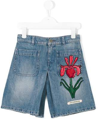 Gucci Kids floral embroidered denim shorts