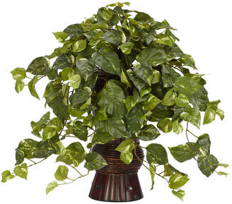 Asstd National Brand Nearly Natural Pothos Silk Plant with Bamboo Vase