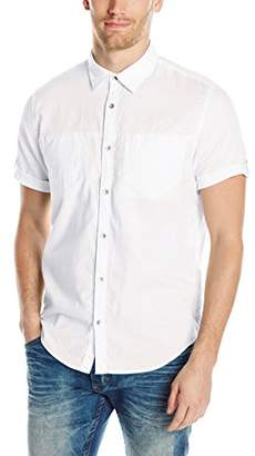 Calvin Klein Jeans Men's Short Sleeve Roll Tab Double Pocket Button Down Shirt