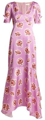 Peter Pilotto Graphic Floral Print Silk Dress - Womens - Fuchsia