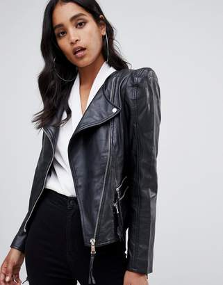 Asos Design Leather Biker Jacket with Shoulder Pads
