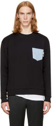 Versus Black Denim Pocket Safety Pin Sweatshirt