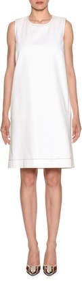 Marni Sleeveless Crewneck Bicolor Denim Shift Dress