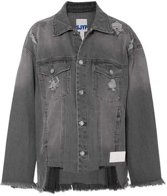 Sjyp Distressed Denim Jacket - Gray