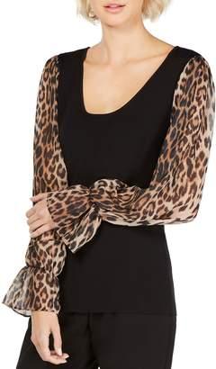 INC International Concepts Leopard-Print Long-Sleeve Top