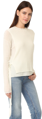 Helmut Lang Merino Wool Tie Side Ribbed Sweater $395 thestylecure.com