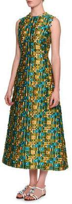 Dolce & Gabbana Sleeveless Raw-Edge Midi Dress, Gold/Blue/Green $3,495 thestylecure.com