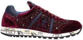 Premiata Lucy Burgundy Velvet Sneakers
