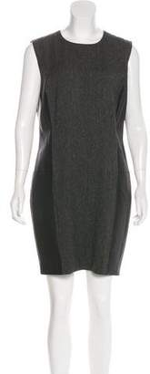 Ralph Lauren Black Label Leather-Paneled Wool Dress
