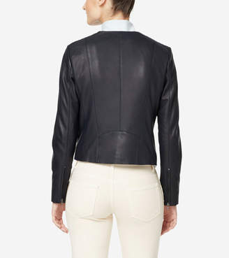Cole Haan Braided Leather Lambskin Jacket
