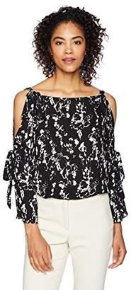 Lark & Ro Women's Woven Long Sleeve Cold Shoulder Top