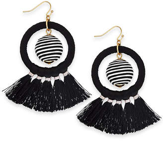 """INC International Concepts I.n.c. Extra Large 3"""" Gold-Tone Wrapped Ball & Tassel Drop Hoop Earrings"""
