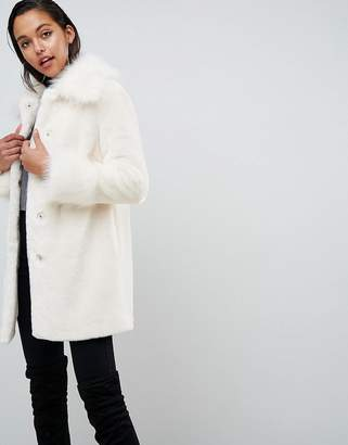 Asos DESIGN All Over Faux Fur Coat with Statement Sleeve