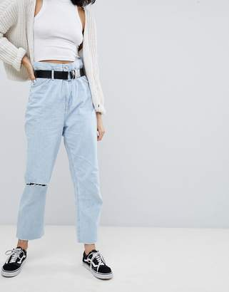 Bershka paper bag waist jean in blue