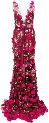 Marchesa plunge neck embroidered gown