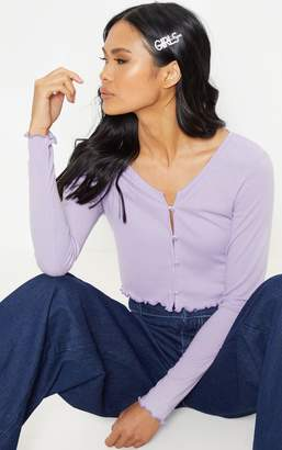 PrettyLittleThing Lilac Rib Button Front Long Sleeve Crop Top