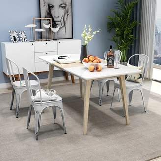 Merax 4-Piece Set Distressed Rustic Design Stackable Metal Dining Chairs