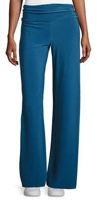Norma Kamali Straight-Leg Ruched-Waist Pants, Marine $125 thestylecure.com