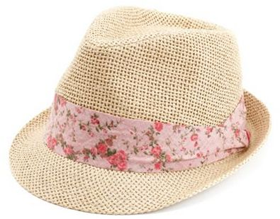 Charlotte Russe Floral Band Straw Fedora
