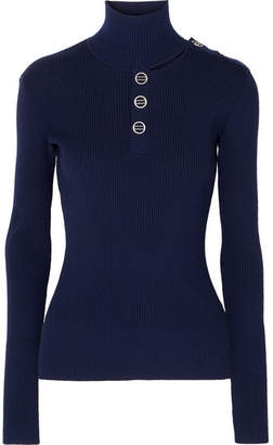 Dion Lee Cutout Ribbed Stretch-knit Turtleneck Sweater - Navy