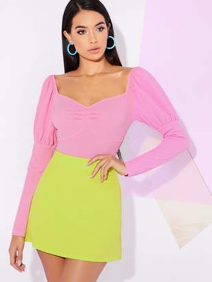 Shein Solid Sweetheart Neck Bustier Top