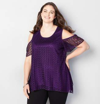 Avenue Crochet Cold Shoulder Top