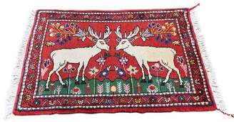 """Noë Canora Grey One-of-a-Kind New Pictorial with Deer Tribal Hand-Knotted 2'3"""" x 2'10"""" Wool Red Area Rug Canora Grey"""