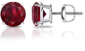 Platinum Round Gemstone Stud Earrings in 4-Prong Basket Screw Backs (2 cttw)
