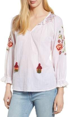 Velvet by Graham & Spencer Embroidered Sleeve Tassel Tie Cotton Peasant Blouse
