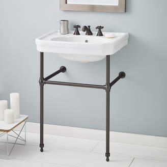 """CheviotProducts Mayfair Metal 25"""" Console Bathroom Sink with Overflow"""