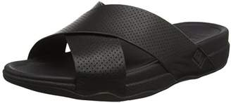 FitFlop s Surfer Perf Mens Leather Slide Open-Toe Sandals, (Black), 43 EU