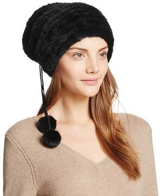 Maximilian Furs Pom-Pom Knit Mink Fur Hat - 100% Exclusive