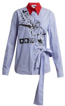 Prada - Comic Print Cotton Poplin Shirt - Womens - Blue Stripe