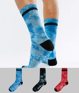Globe Tie Dye Socks with Logo 3 Pack