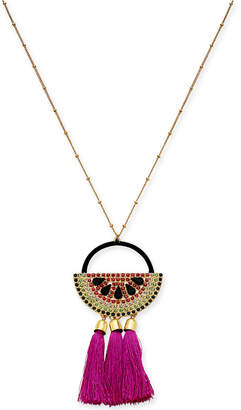 "INC International Concepts I.n.c. Gold-Tone Multi-Pave & Stone Watermelon Tassel Pendant Necklace, 30"" + 3"" extender, Created for Macy's"