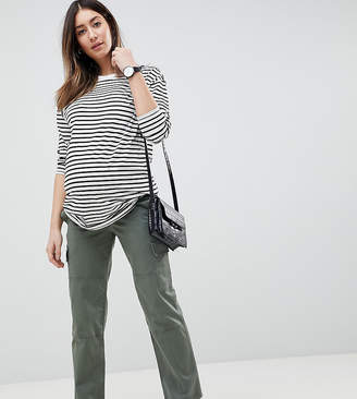 Asos DESIGN Maternity straight leg stretch pants with pockets in light khaki and under the bump waistband
