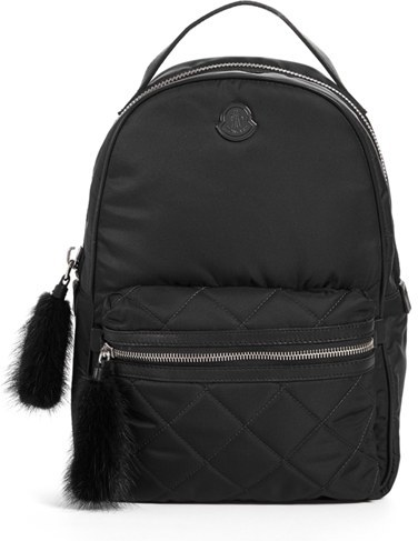 Moncler Moncler 'Georgette' Genuine Rabbit Trim Backpack - Black