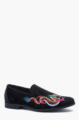 boohoo Faux Suede Dragon Embroidered Loafer