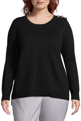 Liz Claiborne Button Pullover- Plus