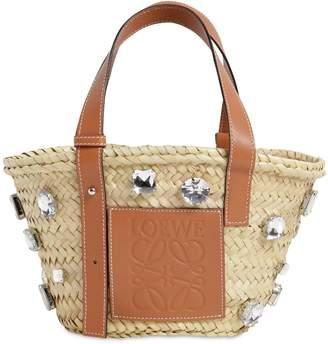 Loewe Mini Embellished Raffia Basket Bag