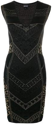 Just Cavalli intarsia-knit fitted dress